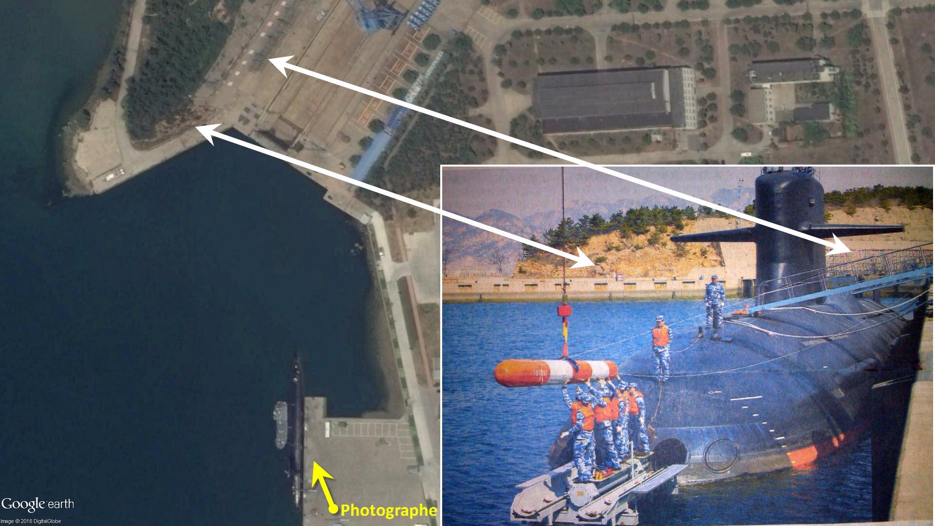 Une analyse rapide permet de voir que la photo est prise au quai Est de la base près de Qingdao.