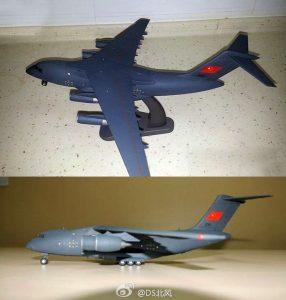 Les maquettes de Y-20 avec les réacteurs D-30KP2 et WS-20 (en bas)