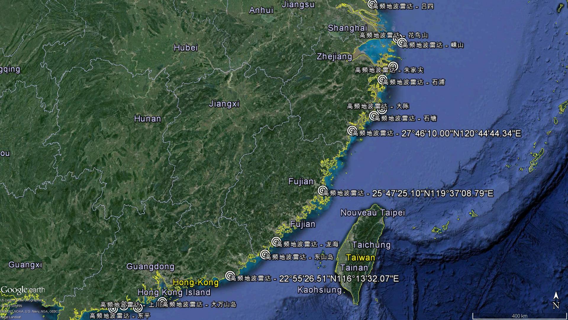 Les HFSWR sont équitablement répartis sur la côte Est de la Chine, certains sont militaires, d'autres civils.