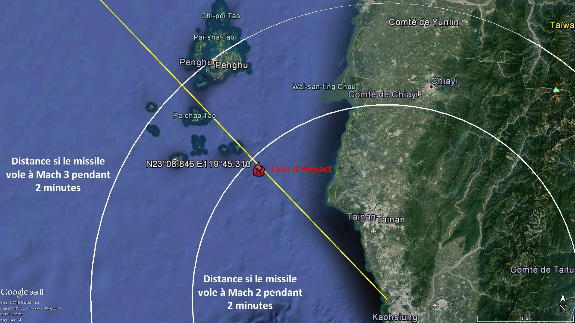La trajectoire du tir et le lieu d'impact avec le bateau de pêche
