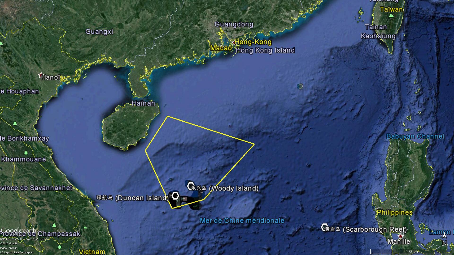 La zone de l'exercice naval chinois du 5 au 11 Juillet : selon certaines sources chinoises, les trois flottes enverront un nombre important de navires de guerre pour y participer.